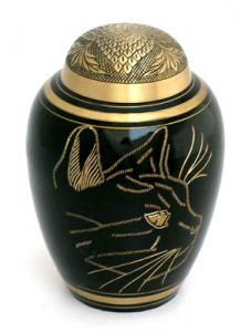 Large Black Etched Cat Cremation Urn