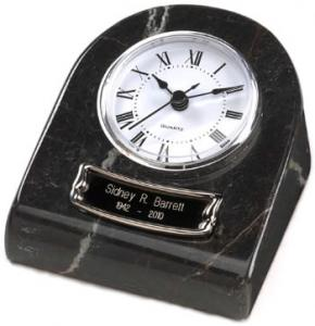 Marble Keepsake Clock Cremation Urn - Black Grain