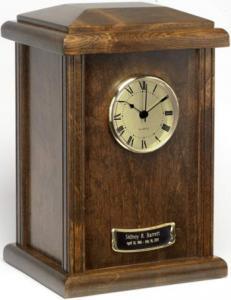 Hardwood Chestnut Tower Clock Cremation Urn