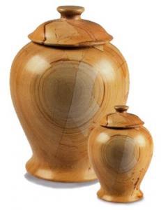 Vase Style Teakwood Marbled Cremation Urns