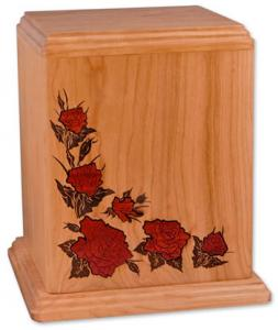 Red Roses Inlay Wood Cremation Urn