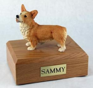 Tan and White Corgi Figurine on Wood Cremation Urn