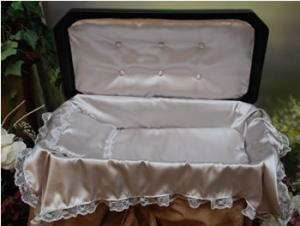 Plush Large Black/Silver Pet Casket