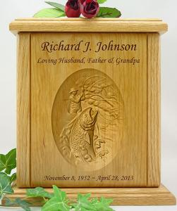 Stream Fishing Relief Carved Wood Cremation Urn