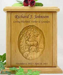 Whitetail Buck Relief Carved Wood Cremation Urn
