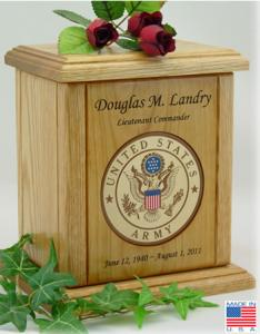 Army Recessed Medallion Cremation Urn
