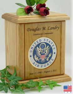 USAF Recessed Medallion Cremation Urn