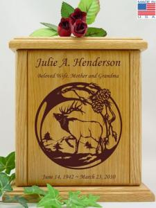 Bugling Elk Wood Cremation Urn