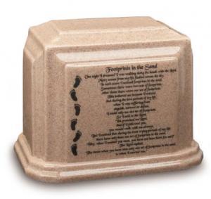 Footprints Cultured Granite Cremation Urn