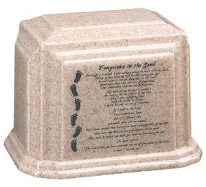 Footprints Cultured Granite Cremation Urn