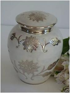 Small Pearl White Florentine Brass Cremation Urn for Pets