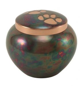 Extra Small Raku Paw Print Pet Cremation Urn
