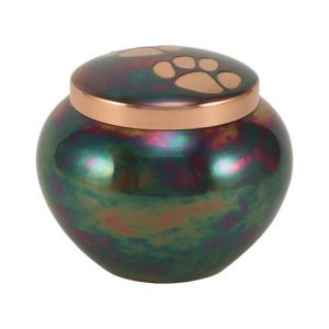 Small Raku Paw Print Pet Cremation Urn