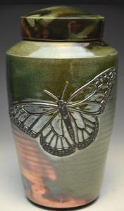 Butterfly Raku Ceramic Cremation Urn