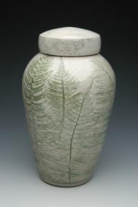 Fern Ceramic Raku Cremation Urn