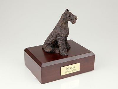 Airedale Bronze Sitting Dog Figurine Cremation Urn