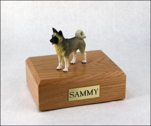 Akita Gray Standing Dog Figurine Cremation Urn