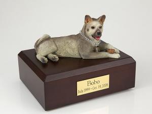 Akita Gray Laying Dog Figurine Cremation Urn