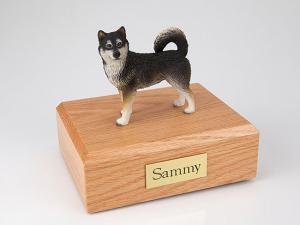 Alaskan Malamute Black-White Standing Dog Figurine Cremation Urn