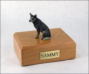 Australian Cattle Dog Blue/Gray Sitting Dog Figurine Cremation Urn