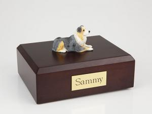 Australian Shepherd Laying Dog Figurine Cremation Urn