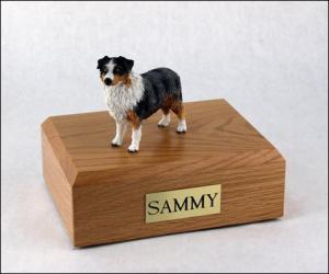 Australian Shepherd Blue/docked Standing Dog Figurine Cremation Urn