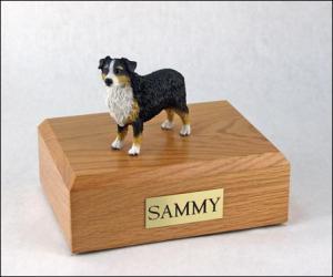 Australian Shepherd, Tri-Color Standing Dog Figurine Cremation Urn