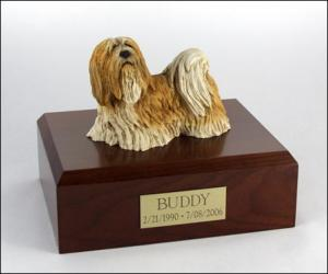Lhasa Apso Yellow/white Standing Dog Figurine Cremation Urn