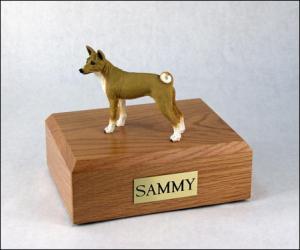 Basenji Gray / White Standing Dog Figurine Cremation Urn