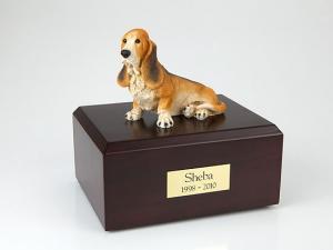 Basset Hound Yellow-White Sitting Dog Figurine Cremation Urn
