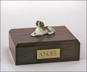 Beagle White-Tan Laying Dog Figurine Cremation Urn