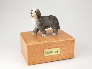 Bearded Collie Gray Standing Dog Figurine Cremation Urn