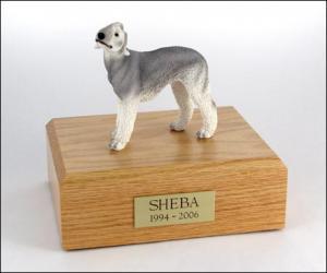 Bedlington Terrier Gray Standing Dog Figurine Cremation Urn