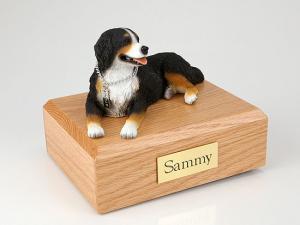 Bernese Mountain Black-White Laying Dog Figurine Cremation Urn
