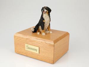 Bernese Mountain Gray-White Sitting Dog Figurine Cremation Urn