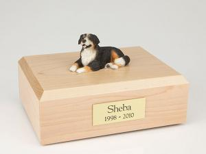 Bernese Mountain Black-White-Yellow Laying Dog Figurine Cremation Urn
