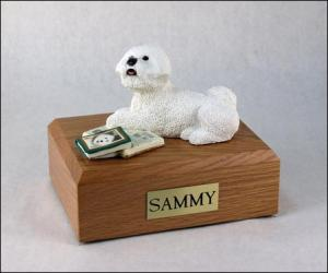 Bichon Frise White Laying Dog Figurine Cremation Urn