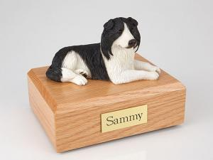 Border Collie Dark Gray-White Laying Dog Figurine Cremation Urn