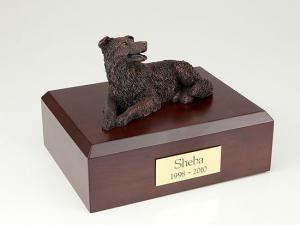 Border Collie Bronze Laying Dog Figurine Cremation Urn