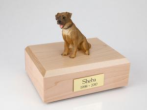Border Terrier Dark Golden Sitting Dog Figurine Cremation Urn