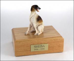 Borzoi Sitting Dog Figurine Cremation Urn