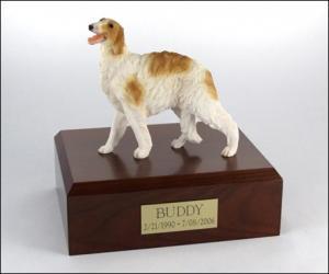 Borzoi White-Yellow Standing Dog Figurine Cremation Urn