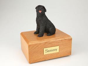 Bouvier Gray Sitting Dog Figurine Cremation Urn