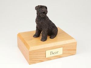 Bouvier Bronze Sitting Dog Figurine Cremation Urn