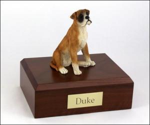 Boxer - ears down Peru Sitting Dog Figurine Cremation Urn