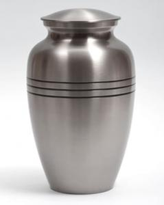 Classic Brass Cremation Urn with Brushed Pewter Finish