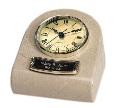 Marble Keepsake Clock Cremation Urn - Cream Wash