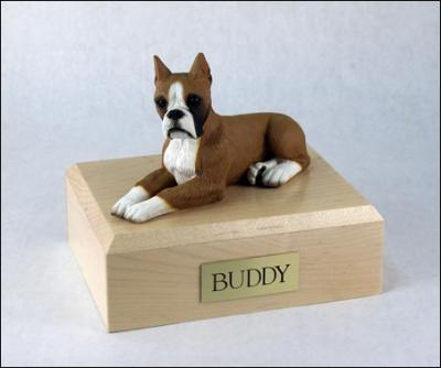 Boxer, Fawn White-SaddleBrown Ears Up laying Dog Figurine Cremation Urn