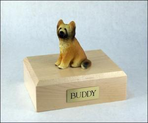 Briard Yellow Sitting Dog Figurine Cremation Urn