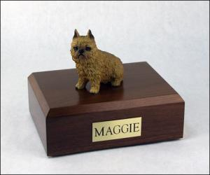 Brussels Griffon,  Red Sitting Dog Figurine Cremation Urn